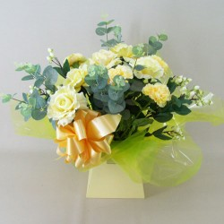 Silk Flowers Gift Bouquet - Sherbet Lemon - BBV015a