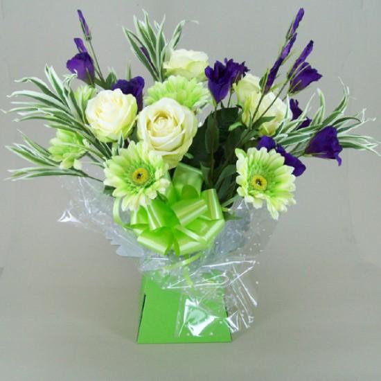 Silk Flowers Gift Bouquet - Citrus Lime - BBV003