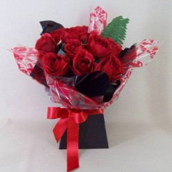 Silk Flowers Gift Bouquet Roses are Red - ABV009