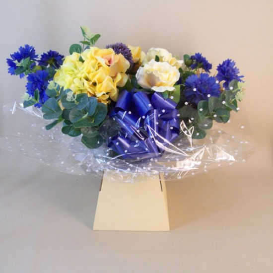 Silk Flowers Gift Bouquet - Blue and Lemon - ABV023