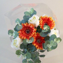 Silk Flowers Gift Bouquet Orange Sensation Silk Rose and Gerbera - ABV029