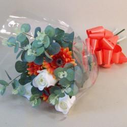 Silk Flowers Gift Bouquet Orange Sensation Silk Rose and Gerbera - ABV029