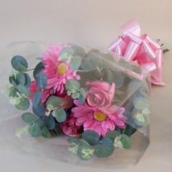 Silk Flowers Gift Bouquet Pink Sensation Silk Rose and Gerbera - ABV031