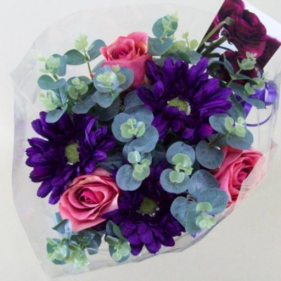 Silk Flowers Gift Bouquet Purple Sensation Silk Rose and Gerbera - ABV018