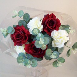 Silk Flowers Gift Bouquet Red Sensation Silk Rose and Carnation - ABV028