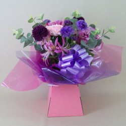 Silk Flowers Gift Bouquet - Vintage Pink and Purple - ABV025