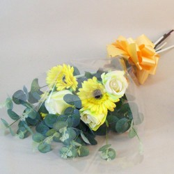 Silk Flowers Gift Bouquet Yellow Sensation Silk Roses and Gerbera - ABV030