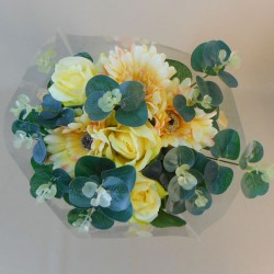 Silk Flowers Gift Bouquet Yellow Sensation Silk Roses and Gerbera - ABV030