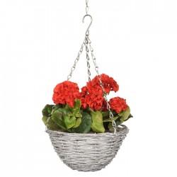 Artificial Geraniums Red Hanging Basket - HAN034