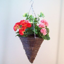 Artificial Hanging Baskets Begonias and Geraniums - HAN014