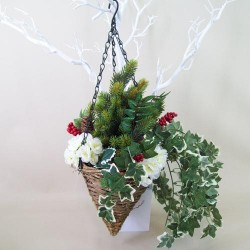 Artificial Hanging Basket Christmas Berries - HAN015
