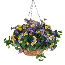 Large Artificial Hanging Baskets Yellow and Purple Pansies - HAN036 OFF
