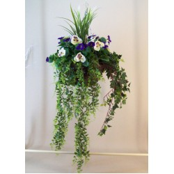 Luxury Artificial Pansies Hanging Basket Purple and White with UV Protection - HAN007 OFF