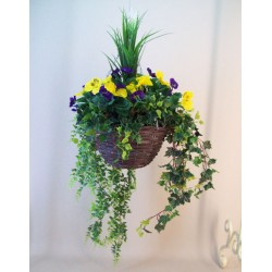 Luxury Artificial Pansies Hanging Basket Purple and Yellow with UV Protection - HAN011 OFF