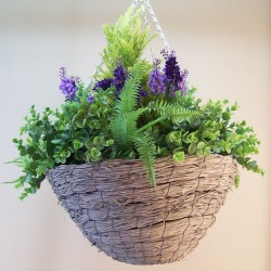 Large Artificial Hanging Baskets Lavender and Cedar Purple Flowers - HAN035