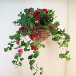 Large Artificial Geraniums Hanging Basket - HAN031 OFF