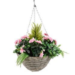Large Artificial Pink Azaleas Hanging Basket - HAN034
