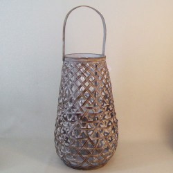 Bamboo Lantern with Glass Candle Holder - BAM010