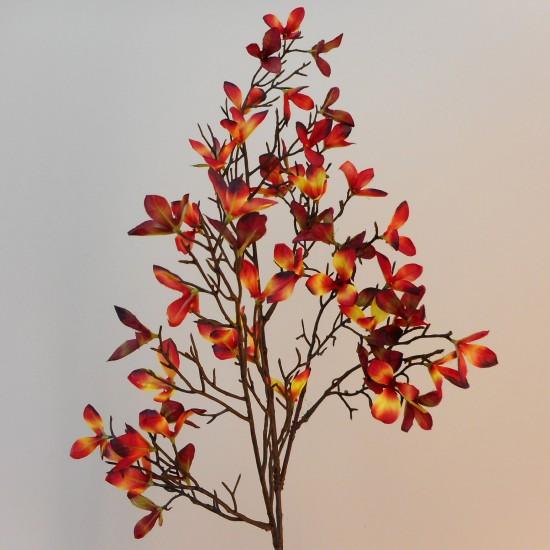 Artificial Autumn Leaves Branch Red Orange - AUT002 BX10