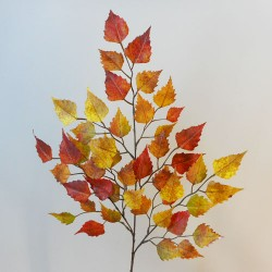 Artificial Birch Leaves Branch Orange - BIR013