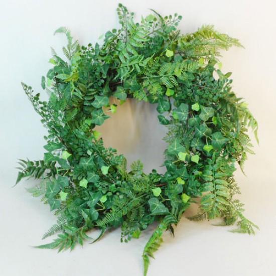 Artificial Ferns and Ivy Wreath 60cm - FER035 C3
