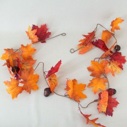 Artificial Maple Leaves Garlands with Acorns - MAP011