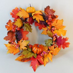 Artificial Autumn Leaves Pumpkins and Berries Wreath 46cm - MAP023 CC-DD