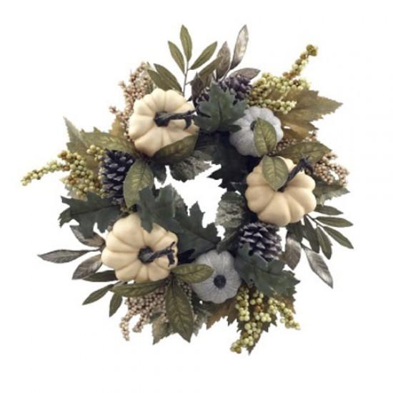 Artificial Autumn Leaves Pumpkins and Berries Wreath 50cm - PUM005