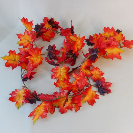Fleur Artificial Maple Leaves Garlands Red Orange - MAP020 BB2