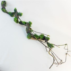 Artificial Twig and Bark Garland with Moss - 18X101
