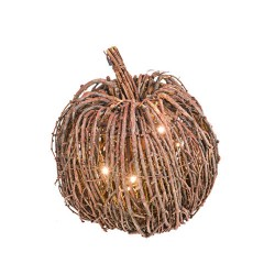 Twig Ornamental Pumpkin with Lights Small 20cm - PUM010
