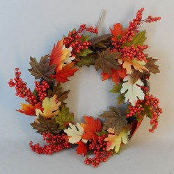 Artificial Maple Leaves and Berries Wreath 46cm - MAP024