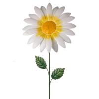 Metal Daisy Stake Large White - MET003