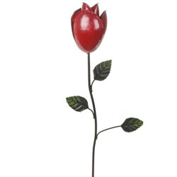 Metal Rose Bud Stake Red - MET013