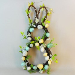 Easter Bunny Eggs and Flowers Wreath 58cm - EAS011