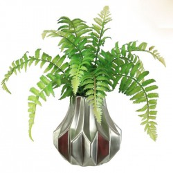Artificial Fern in Silver Geometric Vase - FER054 7