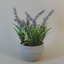 Artificial Plants Potted Lavender in Grey Pot - LAV012 6E