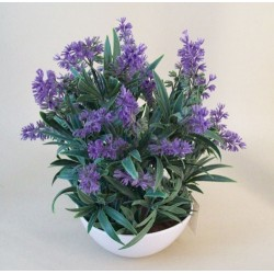 Artificial Plants Potted Lavender in White Bowl - LAV008 2D