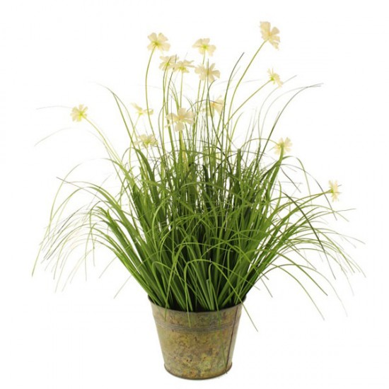 Artificial Plants Potted Grass and Cosmos Cream - GRA026 BK