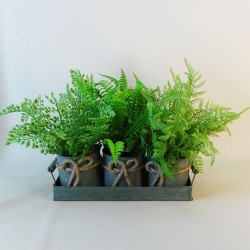 Artificial Ferns in Verdi Gris Zinc Planters - FER021 OFF