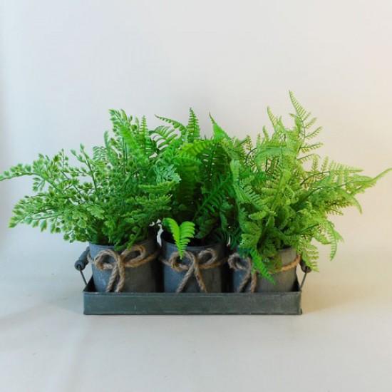 Artificial Ferns in Verdi Gris Zinc Planters - FER021