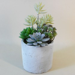 Potted Artificial Succulents in Grey Pot - SUC039 3B