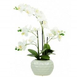 Real Touch Artificial Phalaenopsis Orchid Plants in White Dimpled Pot 53cm - ORC022 2A