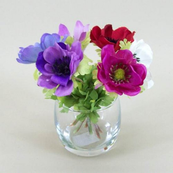 Anemone Vase Silk Flower Arrangement - AV001 6B