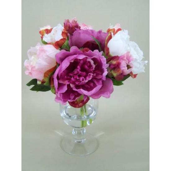Peony Artificial Flower Arrangement Pink - PEV002 6C