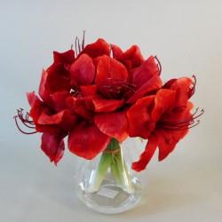 Red Amaryllis Vase   Silk Flower Arrangements - AMA020 1B