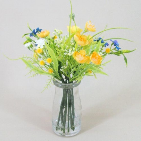 Artificial Buttercups and Forget me Nots Bottle Yellow - BGV001 5B