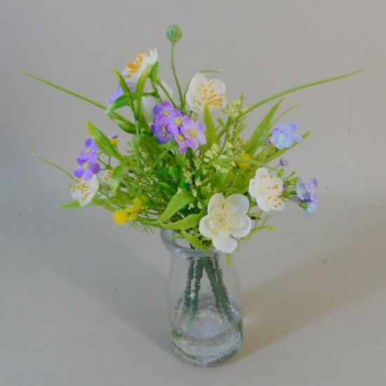 Artificial Buttercups and Forget me Nots Vase White - BGV002 1C