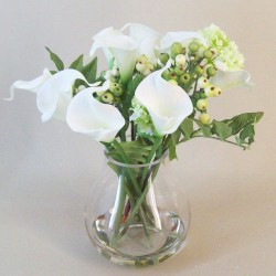 Calla Lily and Berries Artificial Flower Arrangement White - CLV014 2C