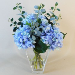 Centerpiece Arrangement | Blue Artificial Hydrangeas in Square Glass Vase - HYD014 4A